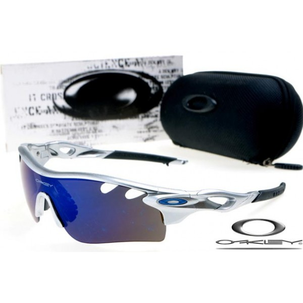 8d5b8402bd fake oakley radarlock path sunglasses with silver frame   blue iridium lens