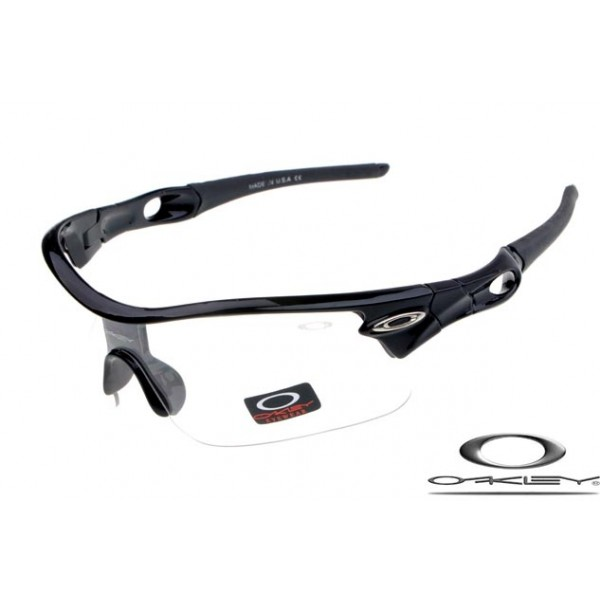 30d1ab492f fake oakley radar pitch sunglasses with polished black frame   clear iridium  lens