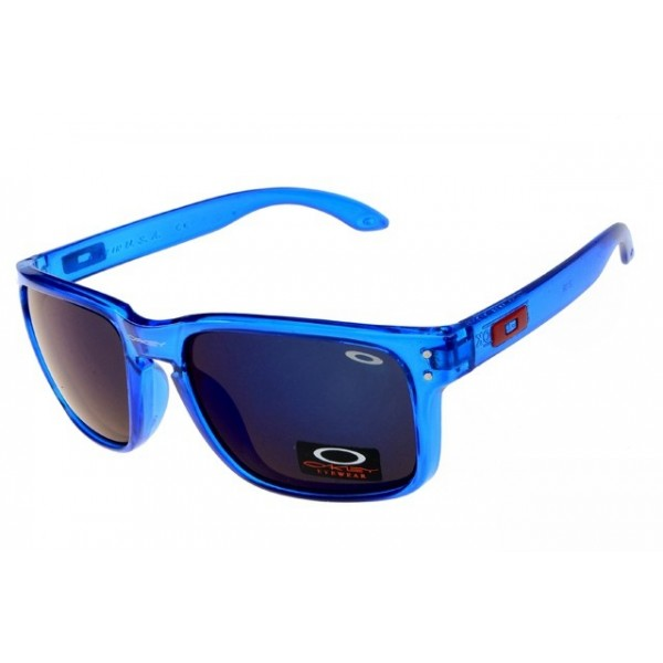 6bda40f33ab fake Oakleys Holbrook sunglasses clear blue frame   black iridium ...